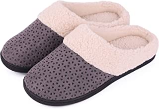 Women's Comfort Micro Suede Memory Foam Slippers Anti-Skid Plush Fleece House Shoes for Indoor Outdoor Use
