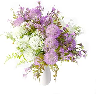 The Bloom Times 4pcs Artificial Flowers Bouquet Plastic Fake Chrysanthemums Flowers Arrangements Green Fillers Decoration for Home Farmhouse Centerpieces Wedding Party Indoor Outdoor - Purple White