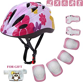 Kids Helmet Adjustable Toddler Bike Helmet with Sports Protective Gear Set Knee Elbow Wrist Pads for Child Ages 4 to 10 Years Old Boys Girls Cycling Skating Skateboard Roller Scooter Helmet
