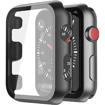 Smilelane 対応Apple Watch Series 3 / Series 2 42mm 用 ケース, PCガラス保護カバー 対応アップルウォッチシリーズ 3/2 42mm 用 ケース(ブラック)