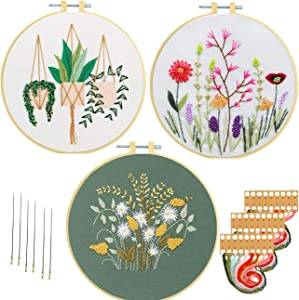 Nuberlic 3 Sets Embroidery Kit for Adults Cross Stitch Starter Kit Include Craft Stamped 3 Embroidery Cloth with Floral Pattern, 3 Embroidery Hoops, Threads and Needles
