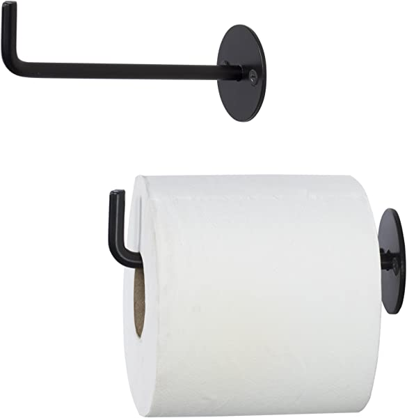 Wallniture Wrought Iron Toilet Paper Roll Holder Wall Mounted 5 5 Inches Black Set Of 2