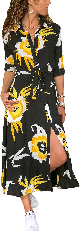 Boho Vib Women's Button Down Bohemian Long Sleeve Maxi Shirt Dress - S M L XL XXL