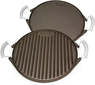 Victoria GDL-156 Round Cast Iron Grill. Double Burner Griddle, with Removable Coil Handles Seasoned with 100% Kosher Certified Non-GMO Flaxseed Oil, 12.5 Inch, Black