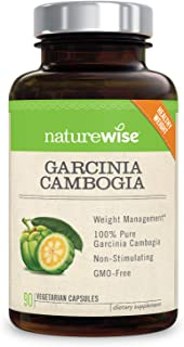 NatureWise Pure Garcinia Cambogia | 100% Natural HCA Extract Supports Weight Loss and Curbs Appetite with Superior Absorpt...