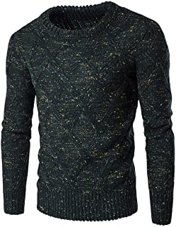 Winwinyou Mens Crewneck Thick Knitwear Pullover Long-Sleeve Sweater