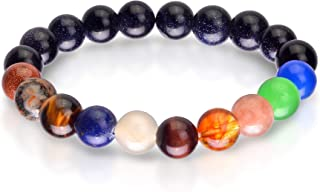 Galaxy Bracelet for Women and Men –Universe Solar System Bracelet with Black Obsidian, Tiger Eye, Lapis Lazuli and other Energy Crystals for Chakra Healing and Spiritual Protection