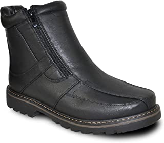 bravo! Men Winter Boot Dean with Fur Lining and Double Zipper or Side Zipper Black and Brown