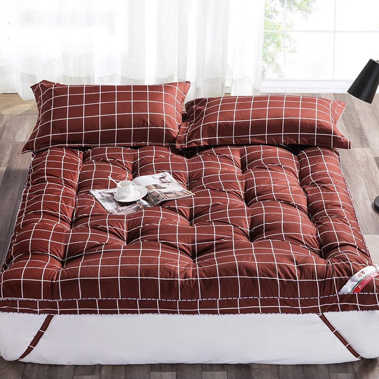 Folding Tatami Mattress, Thicken Dampproof Mattress Topper Student Dorm Hazelnut Single Double Pavement Sleeping mat-A 150x200cm(59x79inch)