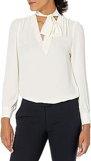 Lark & Ro Vneck Blusa con Lazo Frontal Blusa para Mujer
