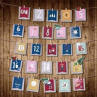 VONLUXE Christmas Calendar, 25Days Christmas Advent Calendar, Paper Xmas Hanging Calendar with Christmas Tree Snowflake Reindeer for Holiday Christmas Wall Door Hanging Decorations