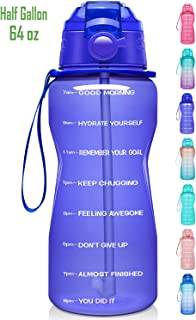 Giotto Large Half Gallon/64oz Motivational Water Bottle with Time Marker & Straw,Leakproof Tritan BPA Free Water Jug,Ensure You Drink Enough Water Daily for Fitness,Gym and Outdoor Activity