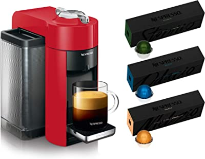 Nespresso Vertuo Coffee and Espresso Machine by De'Longhi, Red with Nespresso Vertuoline Coffee, Best Seller Assortment, 30 Capsules