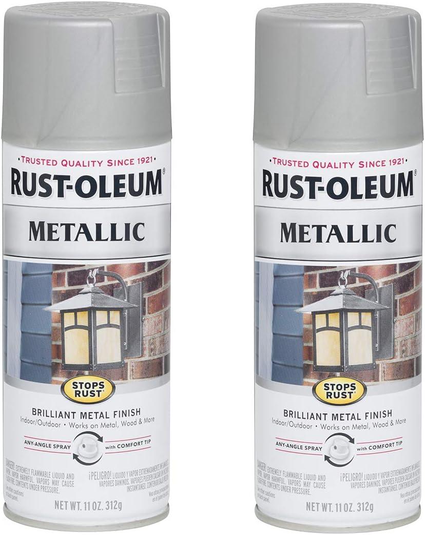 Rust-Oleum Under blast sales 7277830-2PK Stops Rust Metallic Spray Free Shipping New 2 Pack Paint