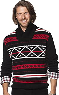 Men's Classic Fit Nordic-Inspired Shawl-Collar Sweater, American Black