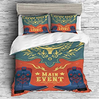 iPrint Soft Luxurious 4 Pcs Decorative Quilt Duvet Cover Set Comforter Cover Set(King Size) Western,Event Poster Design Traditional Cowboy Shoes Abstract Bulls Head Rodeo Decorative,Slate Bl