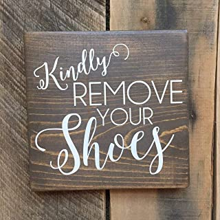 nobrand Kindly Remove Your Shoes Small Stained Wood Sign Shoes Off Sign take Off Your Shoes Clean House Wall Hanging Front...