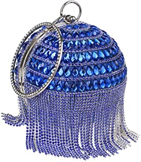 Redland Art Women's Fashion Sparkly Tassel Round Mini Clutch Bag Wristlet Evening Handbag Catching Purse Bag for Wedding Party (Color : Blue)