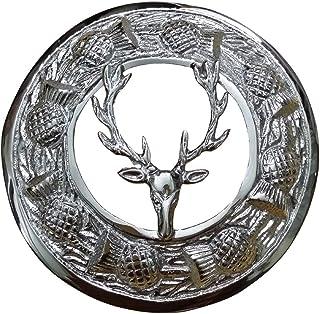 """AAR Men,s Scottish Stag Head Kilt Brooch Fly Plaid Chrome Finish 3"""" (7cm) diameter T"""