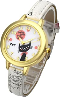 Top Plaza Women Girl Fashion Cute Analog Quartz Wrist Watch Beautiful Cartoon Cat Pattern Gold Case Flowers Leather Strap Dress Watch - White
