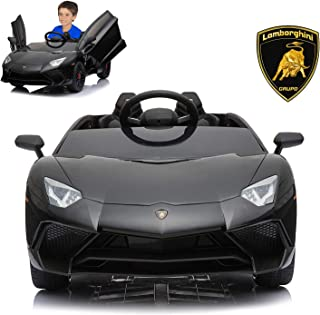 Lamborghini Electric Ride On Car with Remote Control for Kids | 2019 Latest Model Aventador SV Roadster LP750-4 12V Power Battery Official Licensed Kid Car to Drive with Openable Doors Black