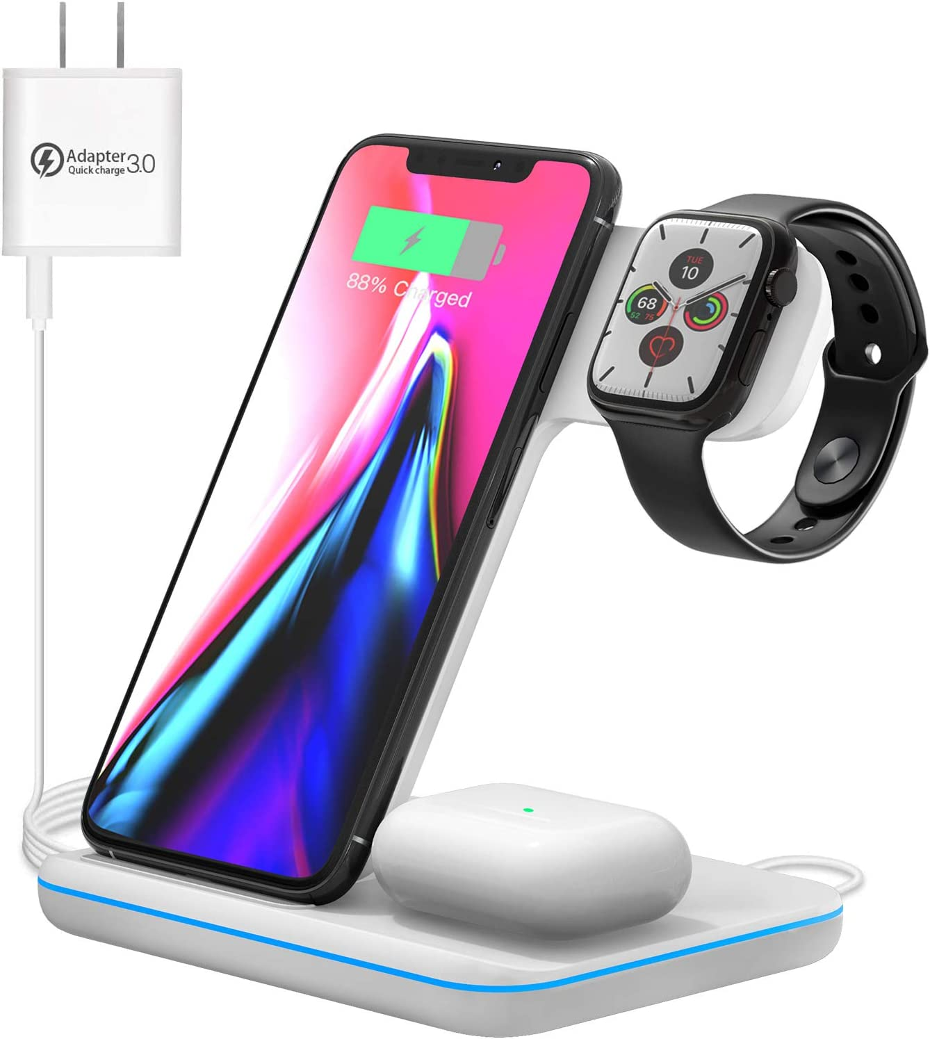Wireless Charging Station, 3 in 1 Qi Charger for Apple Watch 1/2/3/4/5/SE/6 Airpods 2/pro Wireless Charger for iPhone 12/11/11 Pro/11 Pro Max/XS Max/XS XR Plus: Electronics