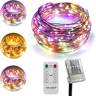 ErChen Dual-Color Solar Powered + Backup Battery Power LED String Lights, 66FT 200 LEDs Remote Control Color Changing 8 Modes Copper Wire Fairy Lights for Outdoor Garden (Warm White, Multicolor)