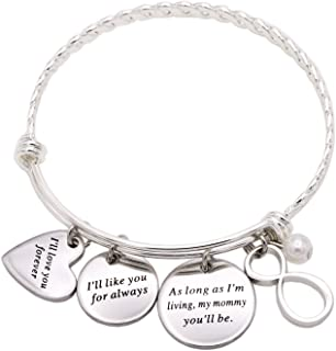 Melix Inspirational Jewelry, I'll Love You Forever Stainless Steel Bangle Bracelet Adjustable