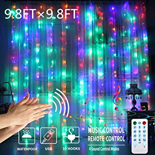 GYTF Color Changing Curtain Lights with Voice Activated, USB Powered 300 LED Fairy String Lights for Christmas Tree Party Decorations,Remote Including Sync-to-Music Setting (9.8 x 9.8Ft)