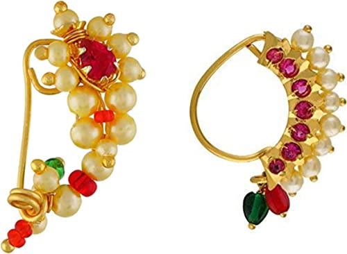 Vail Creations Traditional Maharashtrian Nose ring without piercing Pearl Gold Plated Nath Clip On Nose Ring For Wome...