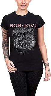 Bon Jovi T Shirt Slippery When Wet Album 新しい 公式 レディーズ Skinny Fit