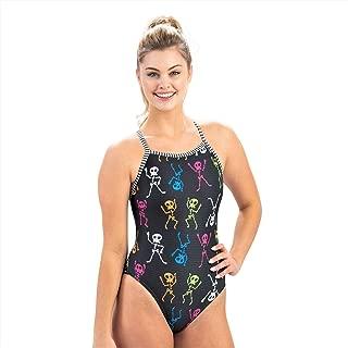 Dolfin Women's Uglies Prints V-2 Back One Piece Swimsuit, Skeleton Dance