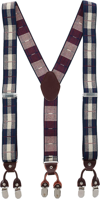 Trendy Yuppy Men's 1.375 Inch Wide Plaid Print Y-Back Double Clip-End Suspenders