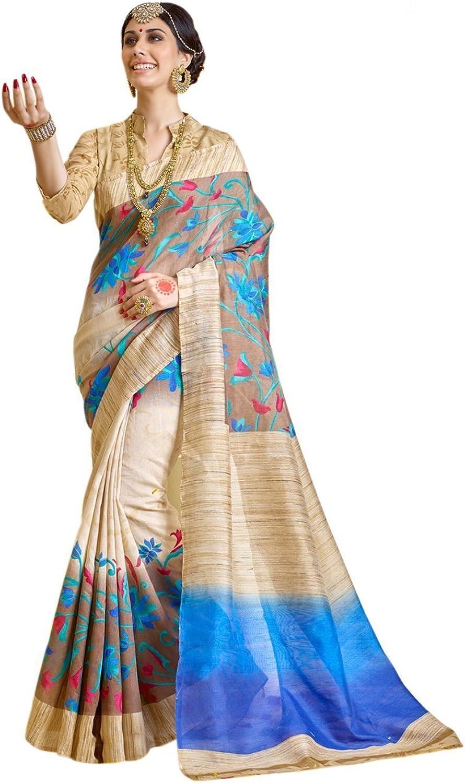Jaanvi fashion Women's Bhagalpuri Cotton Silk Saree
