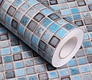 Mosaic Wallpaper Matte Wallpaper for Bathroom Kitchen Counter Paper Countertop Vinyl Blue Wallpaper Shelf Paper 15.7