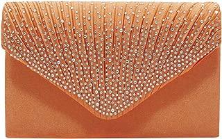 Wiwsi Women Bridal Party Envelope Style Clutch Diamante Evening Satin Handbags
