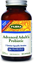 Flora Advanced Adult Probiotic Capsules 60 Count - 34 Billion CFU - Vegetarian, Gluten Free - for Adults Age 55+ (UDO's Ch...