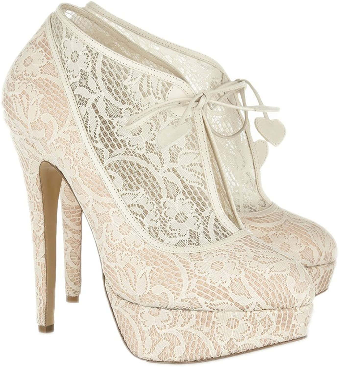 Lacitena Lace Bridal High Heel Platform Pointed Toe Pumps - Faux Leather Pointed Toe Fashion Pumps