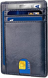 Apsung Slim Minimalist Front Pocket RFID Blocking Leather Wallets for Men Women (Blue)