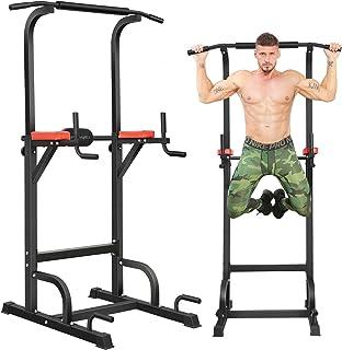 BangTong&Li ぶら下がり健康器 マルチジム 懸垂マシン 耐荷重150kg 懸垂 器具 筋肉トレーニング 背筋 腹筋 大胸筋 懸垂バー (ブラック+レッド 背面クッションあり)