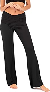 Fold Over Yoga Lounge Stretch Pants Women | Contrasting High Waist Loose Pregnancy Pant Plus (P8)
