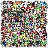 DIWSO Adesivi Super Mario Bros (100 PCS) Adesivi Impermeabili in Vinile per Laptop, Paraurti, Skateboard, Bottiglie d'Acqua, Computer, Telefono, Adesivi Anime per Bambini Adolescenti