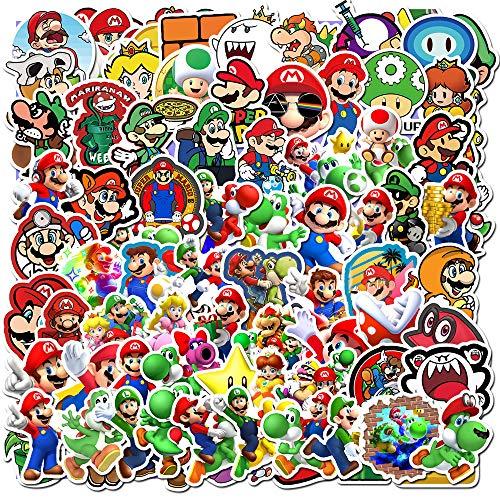 DIWSO Pegatinas de Super Mario Bros (100 Piezas) de Vinilo a Prueba de Agua para Ordenador Portátil, Parachoques, Patineta, Botellas de Agua, Ordenador, Teléfono, Pegatinas de Anime para Niños y