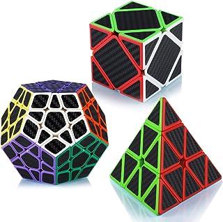 Maomaoyu Speed Cube Ensemble Pyraminx+Megaminx+Skewb 3 Pack Puzzle TwistMagic Cube Fibre de Carbone Autocollant Cube de V...