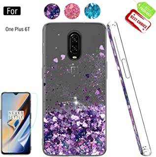 Compatible with OnePlus 6T Cases with Screen Protector for Girls Women, Luxury Bling Diamond Quicksand Liquid Clear TPU Protective Phone Case Phone Cover for OnePlus 6T Purple