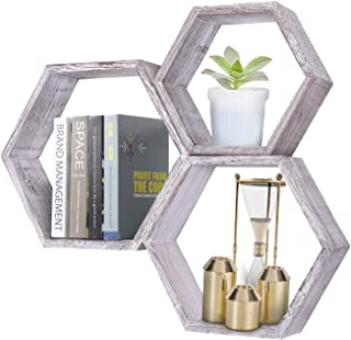 Comfify Rustic Wall Mounted Hexagonal Floating Shelves – Set of 3 – Large, Medium and Small – Screws and Anchors Included - Farmhouse Shelves for Bedroom, Living Room and More – Honeycomb Wall Décor