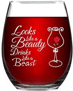 Looks Like a Beauty Drinks Like a Beast Stemless Wine Glass, Funny Wine Glass for Birthday Graduation Galentine's Day Christmas, Wine Glass for Women Girls Sister Her 15 Oz
