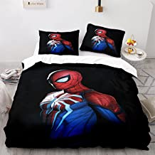 WSFST Parure De Lit Spiderman 220x240 Cm avec 2 Taie d'oreiller 65x65 Cm - Housse De Couette 2 Personnes avec Fermeture Éc...