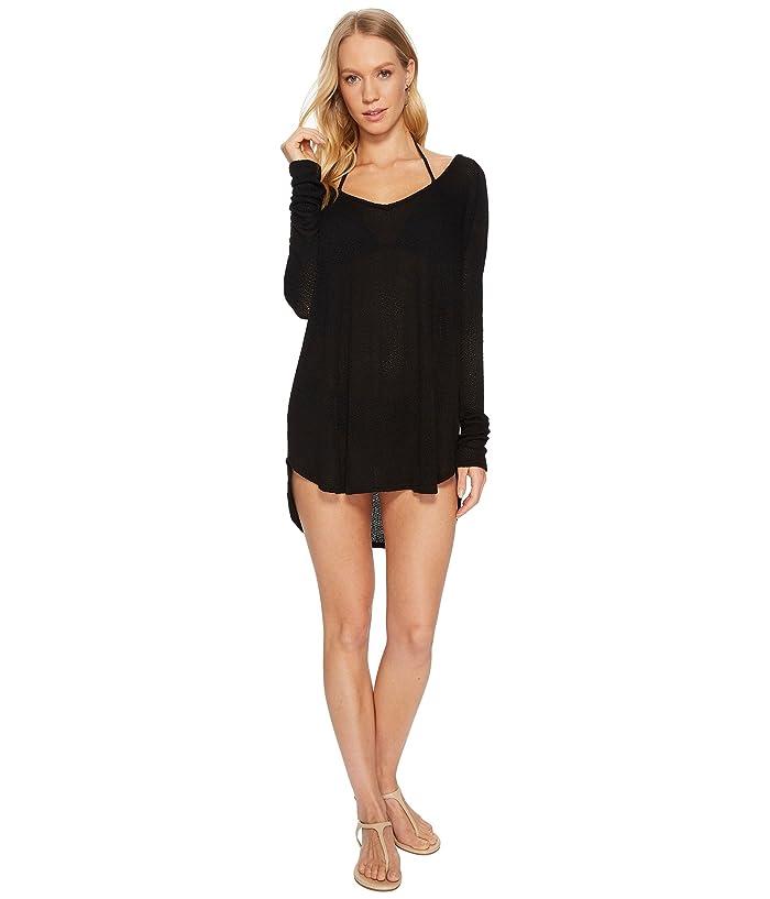 Vitamin A Swimwear Drifter Beach Sweater Cover-Up (Black Drifter Beach Sweater) Women