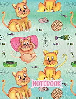 Notebook: Silly Cats Playing 1 Subject College Ruled Composition Book